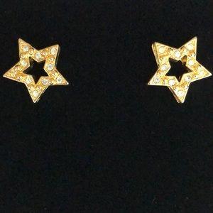 """Vintage Avon Gold Tone """"Star"""" Pierced Earrings"""